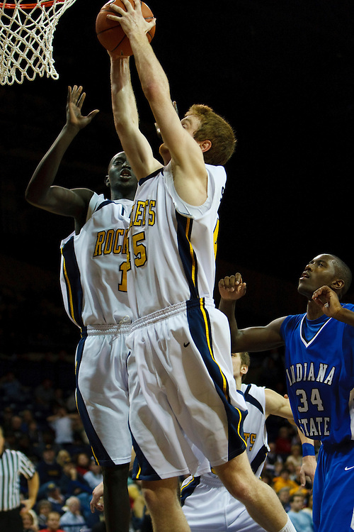 19 December 2009: Toledo's Justin Anyijong (1) and Toledo's Ian Salter (45)  during the NCAA basketball game between Indiana State and the Toledo Rockets at Savage Arena in Toledo, OH.
