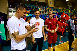HONG KONG, CHINA - Tuesday, July 18, 2017: Liverpool's Dejan Lovren, Marko Grujic and goalkeeper Loris Karius try a local keepy-up craze during a Premier League skills kids event at the Macpherson Stadium ahead of the Premier League Asia Trophy 2017. (Pic by David Rawcliffe/Propaganda)