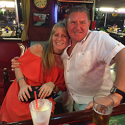 DAILY MIRROR Collect: Peter Crouch and his late wife Lynne on holiday. He is battling with officials from the Dominican Republic for the return of his late wife's complete body after she passed away whilst on holiday on the island . Loughton, Essex, July 17 2019.