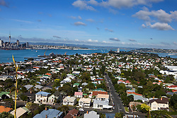 Aerial view from the top of Mount Victoria of Devonport and Waitemata Harbour, Auckland, New Zealand