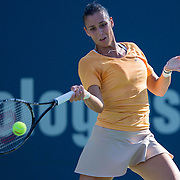 August 16, 2014, New Haven, CT:<br /> Flavia Pennetta hits a forehand during a match against Klara Koukalova on day three of the 2014 Connecticut Open at the Yale University Tennis Center in New Haven, Connecticut Sunday, August 17, 2014.<br /> (Photo by Billie Weiss/Connecticut Open)