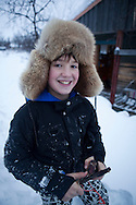boy with furhead in Finland