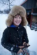 boy with furhead in Finland