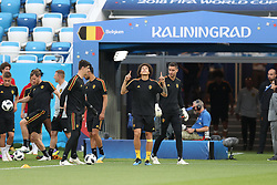 June 27, 2018 - Kaliningrad, RUSSIA - Belgium's Axel Witsel and Belgium's goalkeeper Koen Casteels arrive for a training session of Belgian national soccer team the Red Devils in the Kaliningrad stadium, in Kaliningrad, Russia, Wednesday 27 June 2018. The team will play tomorrow their third game against England in the group stage of the FIFA World Cup 2018. BELGA PHOTO BRUNO FAHY (Credit Image: © Bruno Fahy/Belga via ZUMA Press)