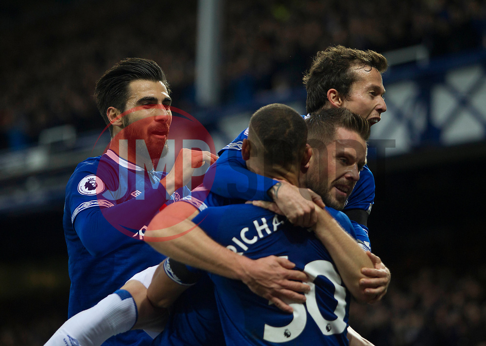 Richarlison of Everton (C) celebrates after scoring his sides first goal - Mandatory by-line: Jack Phillips/JMP - 03/11/2018 - FOOTBALL - Goodison Park - Liverpool, England - Everton v Brighton and Hove Albion - English Premier League