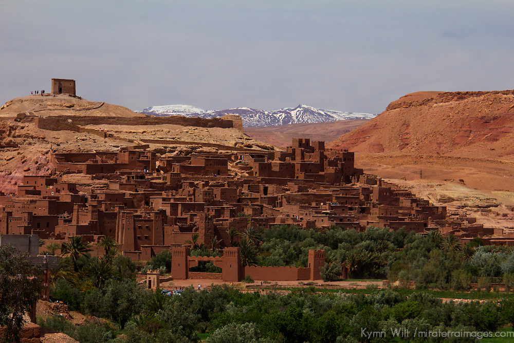 Africa, Morocco, Ait Ben Haddou and snowy Atlas peaks.
