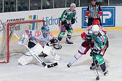 Ales Music (HDD Tilia Olimpija, #16) vs Michal Fikrt (HK Acroni Jesenice, #37) during ice-hockey match between HDD Tilia Olimpija and HK Acroni Jesenice in second game of Final at Slovenian National League, on April 3, 2011 at Hala Tivoli, Ljubljana, Slovenia. (Photo By Matic Klansek Velej / Sportida.com)