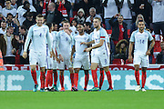 England players celebrate England Forward Jamie Vardy goal 2-0 during the International Friendly match between England and Spain at Wembley Stadium, London, England on 15 November 2016. Photo by Mark Davies.
