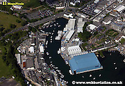 aerial photograph of Princess Yachts  Plymouth   Plymouth Devon , England UK