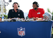 MALIBU, CA - JULY 24:  Rich Eisen (left) and Rod Woodson work in the NFL Network booth as former NFL players and celebrities participate in the EA Sports 2009 Madden NFL 10 Pigskin Pro-Am flag football game between the Famers and the Gamers at Malibu Bluffs State Park on Friday, July 24, 2009 in Malibu, California.  ©Paul Anthony Spinelli *** Local Caption *** Rich Eisen;Rod Woodson