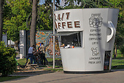 A kiosk in the shape of a coffee cup selling coffee in Batumi, Georgia