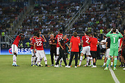 Manchester United Manager Jose Mourinho gives instructions during drinks break during the UEFA Super Cup Final match between Real Madrid and Manchester United at the Philip II Arena, Skopje, Macedonia on 8 August 2017. Photo by Phil Duncan.
