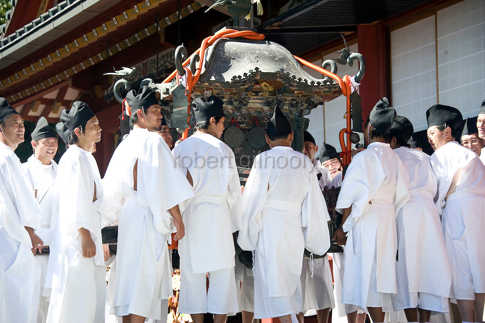 The annual Reitaisai Grand Festival at Tsurugaoka Hachimangu Shrine in Kamakura, Japan on  14 Sept. 2012.  Sept 14 marks the first day of the 3-day Reitaisai festival, which starts early in the morning when shrine priests and officials perform a purification ritual in the ocean during a rite known as hamaorisai and limaxes with a display of yabusame horseback archery. Photographer: Robert Gilhooly