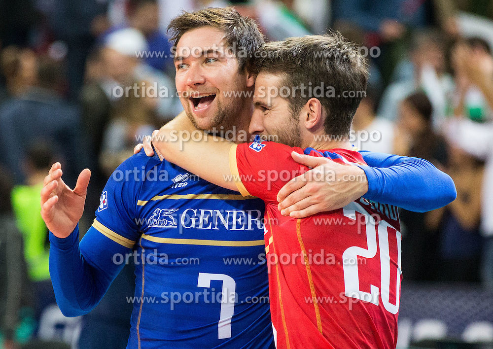 Kevin Tillie #7 of France and Nicolas Rossard #20 of France celebrate after winning during volleyball match between National teams of France and Bulgaria in 2nd Semifinal of 2015 CEV Volleyball European Championship - Men, on October 17, 2015 in Arena Armeec, Sofia, Bulgaria. Photo by Vid Ponikvar / Sportida