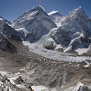 Panorama of Mount Everest from Pumori Camp 1, Nepal, 2012. The image shows Mount Everest, Lhotse, Nuptse, and the surrounding peaks, including those far down valley. <br />