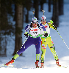 Klemen Bauer of Slovenia during the Men 20 km Individual of the e.on IBU Biathlon World Cup on Thursday, December 16, 2010 in Pokljuka, Slovenia. The fourth e.on IBU World Cup stage is taking place in Rudno Polje - Pokljuka, Slovenia until Sunday December 19, 2010.  (Photo By Vid Ponikvar / Sportida.com)