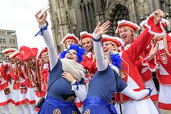 23.02.2017, Koeln, GER, Karneval, Weiberfastnacht, im Bild Kruemelmonster bei einem Selphie mit Maenner Funkenmariechen Gruppe vor dem Dom // during Women's Night of Cologne Carnival 2017. Koeln, Germany on 2017/02/23. EXPA Pictures © 2017, PhotoCredit: EXPA/ Eibner-Pressefoto/ Schueler<br /> <br /> *****ATTENTION - OUT of GER*****