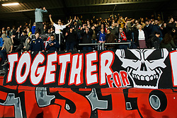 fans of Excelsior celebrate during the Dutch Eredivisie match between sbv Excelsior Rotterdam and Willem II Tilburg at Van Donge & De Roo stadium on April 06, 2018 in Rotterdam, The Netherlands