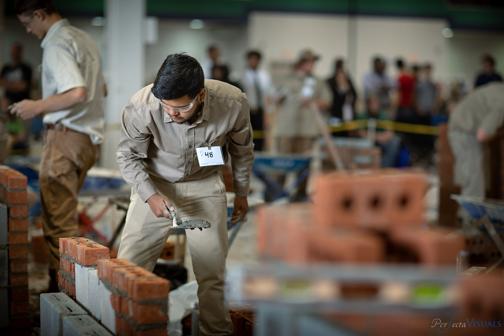 Guilford County Schools Career and Technical Students compete during the SkillsUSA State Leadership and Skills Conference at the Greensboro Coliseum April 19, 2018. SkillsUSA is a national student organization that develops employability, participatory and leadership skills to complement the occupational skills developed by students in technical education classrooms or work-based learning sites.<br /> <br /> <br /> Photographed, Thursday, April 19, 2018, in Greensboro, N.C. JERRY WOLFORD and SCOTT MUTHERSBAUGH / Perfecta Visuals