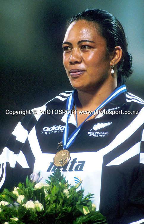 Beatrice Faumuina wins gold for discus at the 1997 World Championships in Athens. Athletics. PHOTOSPORT