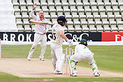 Callum Parkinson bowling to Steven Croft during the Bob Willis Trophy match between Lancashire County Cricket Club and Leicestershire County Cricket Club at Blackfinch New Road, Worcester, United Kingdom on 4 August 2020.