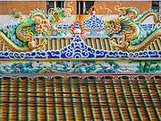 21 OCTOBER 2014 - BANGKOK, THAILAND: The roofline of Chiao Eng Piao Shrine in the Chinatown section of Bangkok. The shrine is near the Chao Phraya River and Central Pier.  PHOTO BY JACK KURTZ