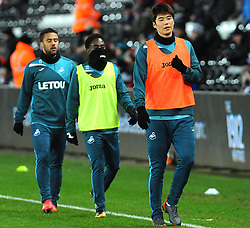 Swansea City players warm up - Mandatory by-line: Nizaam Jones/JMP - 27/02/2018 - FOOTBALL - Liberty Stadium - Swansea, Wales-Swansea City v Sheffield Wednesday - Emirates FA Cup fifth round proper