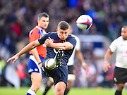 England scrum half Ben Youngs clears the ball in the second half during the Autumn International Series match between England and Fiji at Twickenham, Richmond, United Kingdom on 19 November 2016. Photo by Ian  Muir.