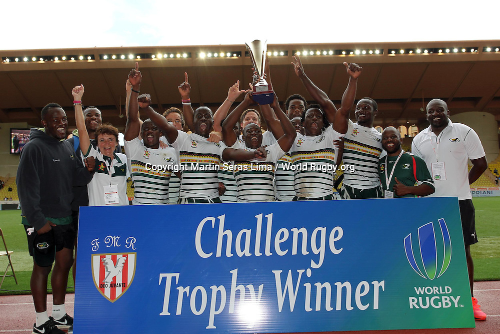 Zimbabwe win the Challenge Trophy at the Monaco Sevens<br /> Second day at World Rugby Monaco Sevens 2016 at Stade Louis II, Monaco - Photo Martin Seras Lima