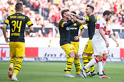 STUTTGART, Oct. 21, 2018  Dortmund's Marco Reus (3rd R) celebrates scoring with teammates during a German Bundesliga match between VfB Stuttgart and Borussia Dortmund, in Stuttgart, Germany, on Oct. 20, 2018. Dortmund won 4-0. (Credit Image: © Kevin Voigt/Xinhua via ZUMA Wire)