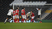 Fulham midfielder, Tom Cairney (10) scoring the opening goal of the game during the Sky Bet Championship match between Fulham and Charlton Athletic at Craven Cottage, London, England on 20 February 2016. Photo by Matthew Redman.