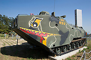 U.S.-made amphibian tank at a Korean War memorial.
