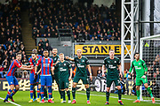 Players waiting for the ball from a corner during the Premier League match between Crystal Palace and Newcastle United at Selhurst Park, London, England on 22 February 2020.