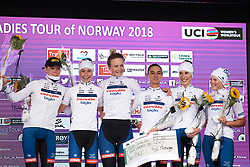 Third place on the podium for Cervélo Bigla at Ladies Tour of Norway 2018 Team Time Trial, a 24 km team time trial from Aremark to Halden, Norway on August 16, 2018. Photo by Sean Robinson/velofocus.com