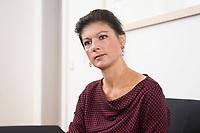 16 MAY 2016, BERLIN/GERMANY:<br /> Sahra Wagenknecht, MdB, Die Linke, Fraktionsvorsitzende DIe Linke Bundestagsfraktion, waehrend einem Interview, in ihrem Buero, Jakob-Kaiser-Haus, Deutscher Bundestag<br /> IMAGE: 20170516-02-035<br /> KEYWORDS: B&uuml;ro