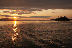 United States, Washington, San Juan Islands, Shaw island at sunset