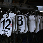 Riders numbers in the stables during the Winton Harness Racing Club Race meeting at the Central Southland Raceway, WInton, Southland, New Zealand. 10th February 2012. Photo Tim Clayton