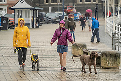 ©Licensed to London News Pictures.<br /> 24/04/2019, Aberystwyth UK . <br /> After the scorchingly hot and  record-breaking weather over the Easter Bank Holiday weekend, the weather has returned to its season norm, with gray clouds and rain pouring down on the few people walking along the seafront in Aberystwyth on the west wales coast. photo credit Keith Morris/LNP