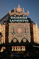 Galeries Lafayette department store christmas lights, Paris, France<br />