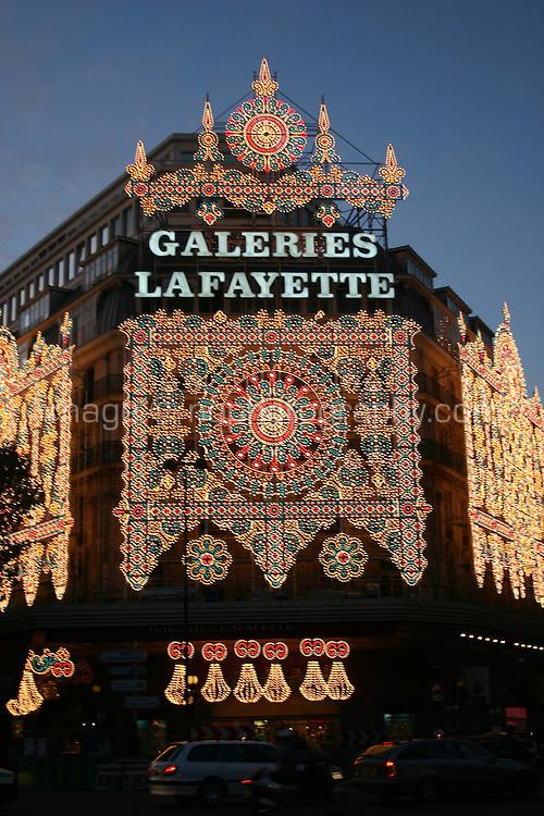Galeries Lafayette department store christmas lights, Paris, France<br />