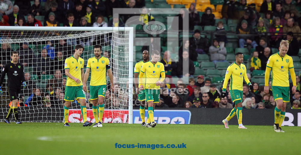 The Norwich players look dejected after conceding their side&rsquo;s 1st goal during the third round of the FA Cup at Carrow Road, Norwich<br /> Picture by Paul Chesterton/Focus Images Ltd +44 7904 640267<br /> 07/01/2017