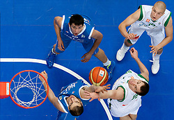 Kostas Koufos of Greece vs Uros Slokar of Slovenia during basketball game between National basketball teams of Slovenia and Greece at FIBA Europe Eurobasket Lithuania 2011, on September 8, 2011, in Siemens Arena,  Vilnius, Lithuania. Greece defeated Slovenia 69-60.  (Photo by Vid Ponikvar / Sportida)