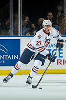KELOWNA, CANADA - SEPTEMBER 22:  Nolan Kneen #27 of the Kamloops Blazers skates with the puck against the Kelowna Rockets on September 22, 2018 at Prospera Place in Kelowna, British Columbia, Canada.  (Photo by Marissa Baecker/Shoot the Breeze)  *** Local Caption ***