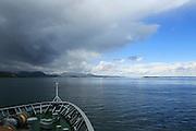 Hurtigruten ferry ship coastal scenery south of Trondheim, Sor-Trondelag county, Norway