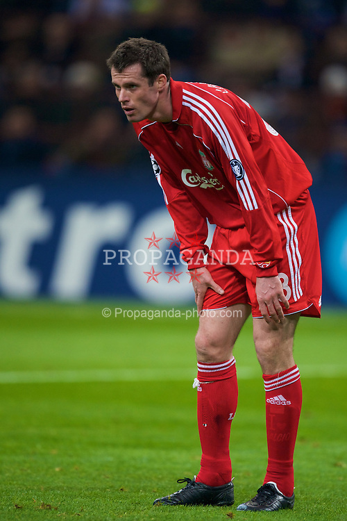 MILAN, ITALY - Tuesday, March 10, 2008: Liverpool's Jamie Carragher in action against FC Internazionale Milano during the UEFA Champions League First knockout Round 2nd Leg match at the San Siro. (Pic by David Rawcliffe/Propaganda)
