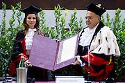 Rome dec 10th 2015, Queen of Jordan receives honorary degree in International Cooperation from University of Rome ' La Sapienza '. In the picture Rania Al Abdullah of Jordan, Mr Eugenio Gaudio, president of ' La Sapienza '