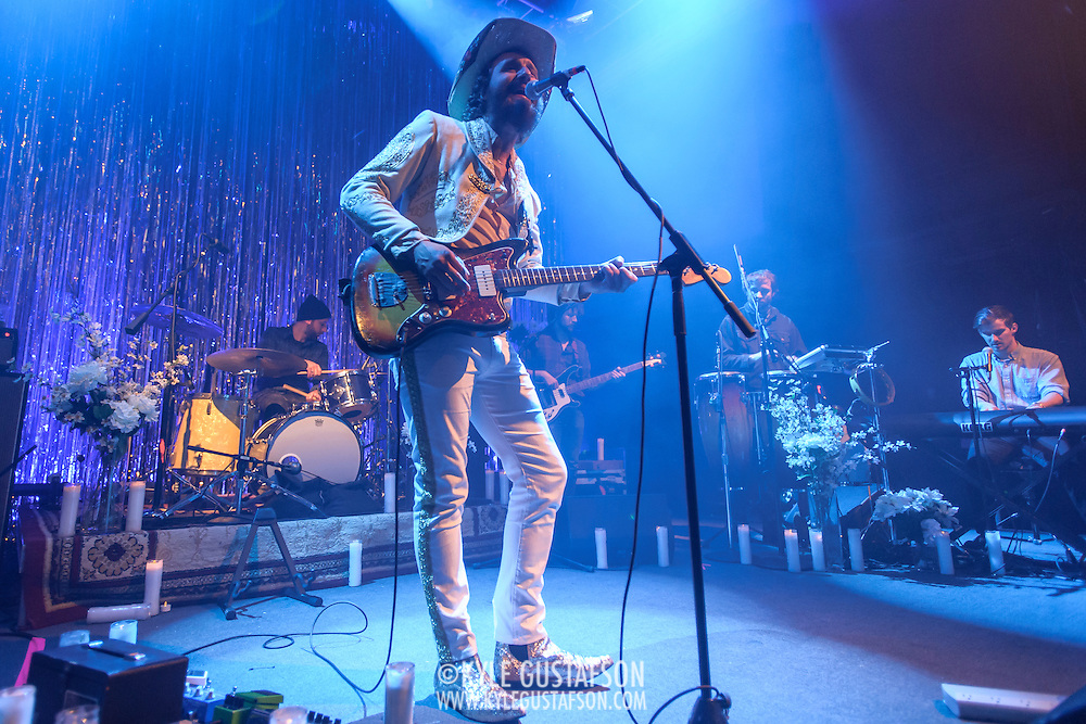 WASHINGTON, DC - January 22nd, 2014 -  Phosphorescent performs at the 9:30 Club in Washington, D.C. Singer-songwriter Matthew Houck (center) has released six studio albums under the Phosphorescent moniker, the last being 2013's  Muchacho. (Photo by Kyle Gustafson /  For The Washington Post)