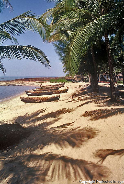 Fishing canoes on the Kappad beach where the Portuguese explorer Vasco da Gama landed in 1498,kerala,India.