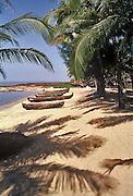 Fishing canoes on the Kappad beach where the Portuguese explorer Vasco da Gama landed in 1498,kerala,India.