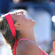 Victoria Azarenka, Belarus, celebrates her victory over Flavia Pennetta, Italy, in the Women's Singles Semi Final at the US Open. Flushing. New York, USA. 6th September 2013. Photo Tim Clayton